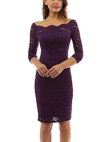 f3704b1d4842 Women's Off Shoulder Party Going out Sexy Mini Bodycon Dress - Solid  Colored Lace Off Shoulder Spring Purple Wine Royal Blue XL XXL XXXL / Slim