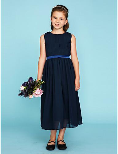 A-Line / Princess Crew Neck Tea Length Chiffon Junior Bridesmaid Dress with Draping / Sash / Ribbon by LAN TING BRIDE® / Wedding Party