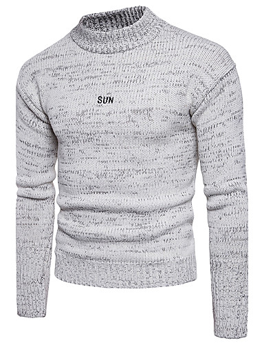 Men's Basic Street chic Long Sleeves Pullover - Solid Colored Round Neck