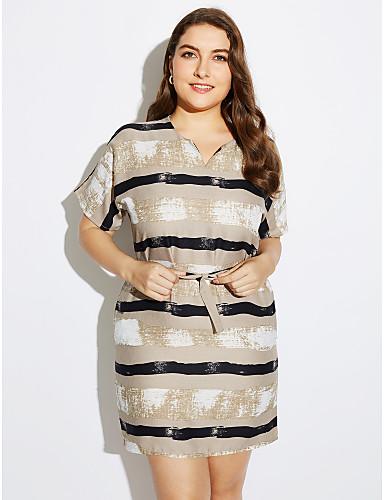 Dame Store størrelser A-linje Kjole - Stripet V-hals Mini