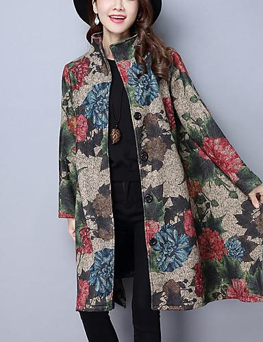 Kínai Állógallér Női Kabát Art Deco Nyomtatott