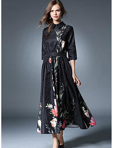 SHE IN SUN Women's Sheath Swing Dress - Embroidered Maxi Shirt Collar