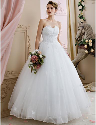 Robe de Soirée Coeur Longueur Sol Dentelle Tulle Robes de mariée personnalisées avec Billes Appliques par LAN TING BRIDE®