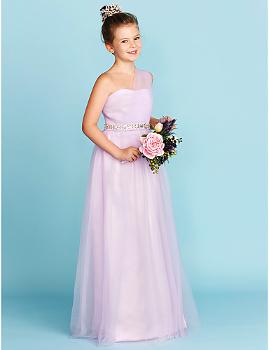 292144424c2 A-Line   Princess One Shoulder Floor Length Tulle Junior Bridesmaid Dress  with Beading   Sash   Ribbon   Criss Cross by LAN TING BRIDE®   Wedding  Party   ...
