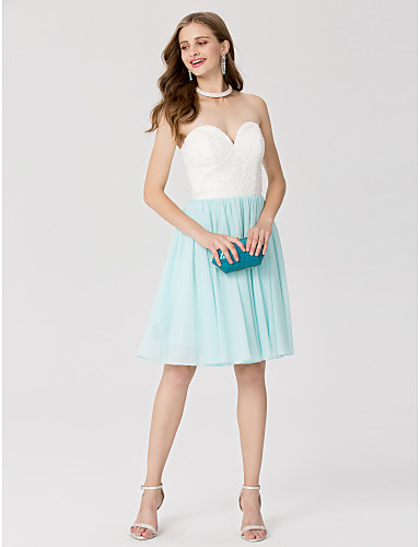 A-Line / Princess Sweetheart Neckline Knee Length Chiffon / Lace Cocktail Party / Homecoming / Prom Dress with Pleats by TS Couture®
