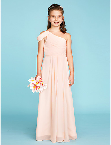 18e4df3da2 A-Line   Princess One Shoulder Floor Length Chiffon Junior Bridesmaid Dress  with Sash   Ribbon   Side Draping by LAN TING BRIDE®   Wedding Party   Open  Back