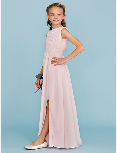 006aefd547d Sheath   Column Crew Neck Floor Length Chiffon Junior Bridesmaid Dress with  Draping   Sash   Ribbon   Split Front by LAN TING BRIDE®   Wedding Party    ...