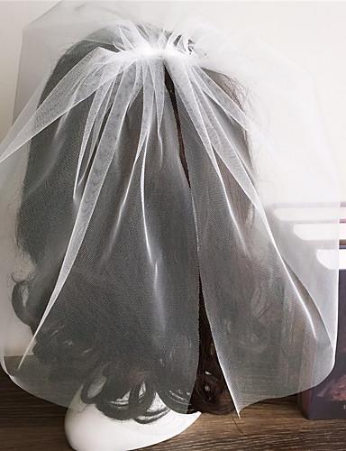 Two-tier Cut Edge Wedding Veil Blusher Veils 53 Ruffles Tulle