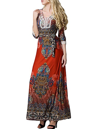Women\'s Plus Size Daily Maxi Jalabiya Dress - Tribal Print ...