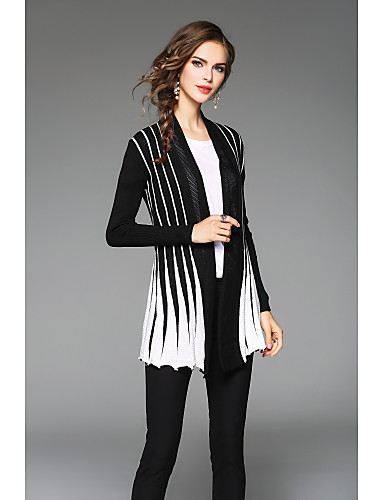 Women's Pleated Color Block Notch Lapel Cardigan, Long Sleeves Fall Cotton