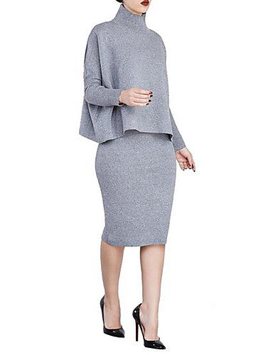 Women's Party Sheath Dress,Solid Round Neck Midi Long Sleeves Cotton Spring Mid Rise Micro-elastic Thin