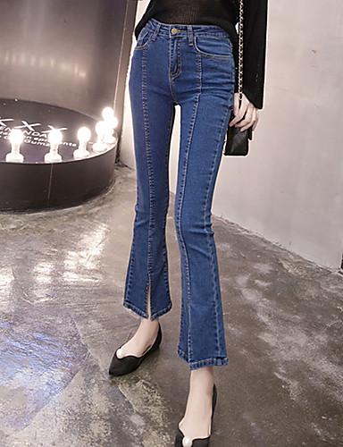 レディース シンプル ストリートファッション ミッドライズ ブーッカット 非弾性 ジーンズ パンツ タッセル ソリッド