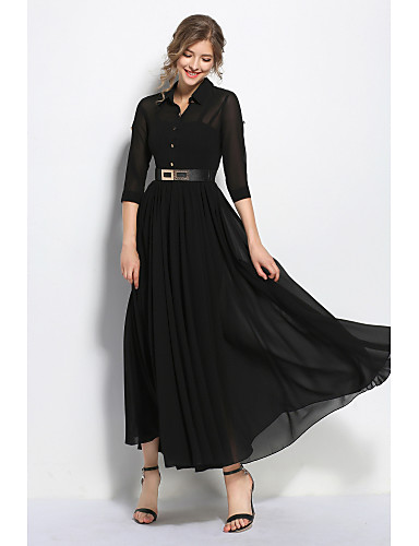 Women's Swing Dress - Solid Colored Black High Rise Maxi Shirt Collar / Spring / Fall