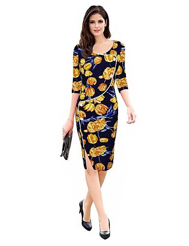 Women's Plus Size Sheath Dress - Floral Split