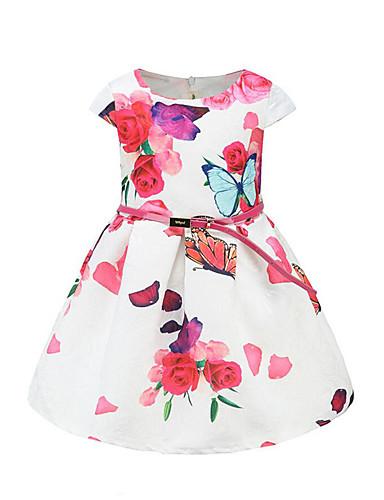 Napi Pamut Poliészter Virágos Tavasz Nyár Rövid ujjú Lány Ruha Virágos Fehér