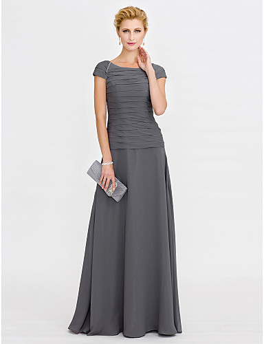 Sheath / Column Scoop Neck Floor Length Chiffon Mother of the Bride Dress with Beading Ruched by LAN TING BRIDE®