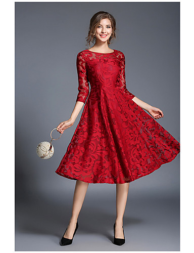 Women S Lace Party Going Out Sophisticated A Line Dress Solid Colored Red