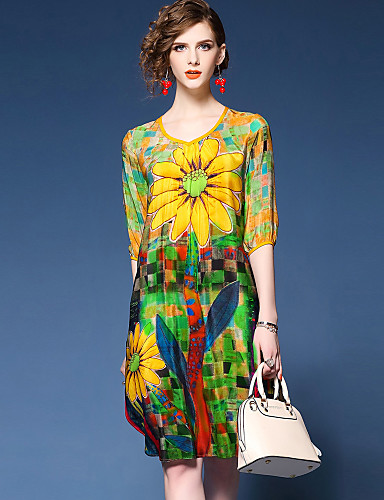 YHSP Women's Sophisticated Street chic Slim A Line Loose Swing Dress - Painting Print V Neck