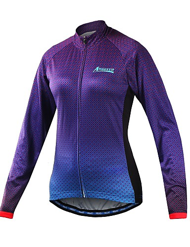 cheap Cycling Clothing-Arsuxeo Women's Long Sleeve Cycling Jersey - Purple Gradient Bike Jersey Reflective Strips Sports 100% Polyester Mountain Bike MTB Road Bike Cycling Clothing Apparel / Stretchy