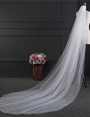 Kétkapcsos Vágott szegély Menyasszonyi fátyol Pironkodó (blusher) fátylak / Könyékig érő fátylak / Katedrális fátylak val vel Fodrozott Tüll / Angyal / Vízesés szabású