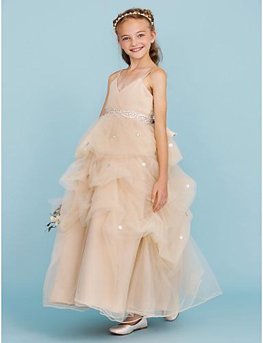 Báli ruha Spagettipánt Bokáig érő Tüll Junior koszorúslány ruha val vel Csokor által LAN TING BRIDE®