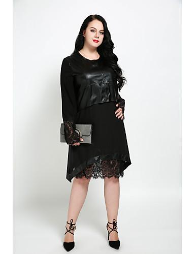 hesapli Büyük Beden Elbiseleri-Kadın's Büyük Bedenler Sokak Şıklığı Kombinezon Elbise - Solid, Dantel Diz-boyu