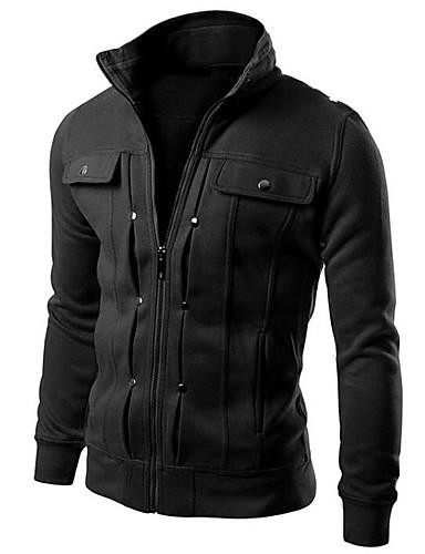 Men's Active Long Sleeve Slim Hoodie Jacket - Solid Colored Stand