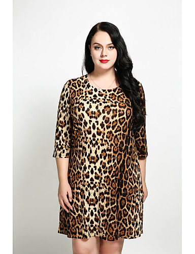 Women's Plus Size Vintage Cotton A Line / Loose / Shift Dress - Leopard