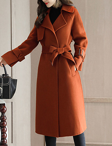 Women's Going out Street chic Fall / Winter Maxi Coat, Solid Colored Shirt Collar Long Sleeve Cashmere / Polyester Brown