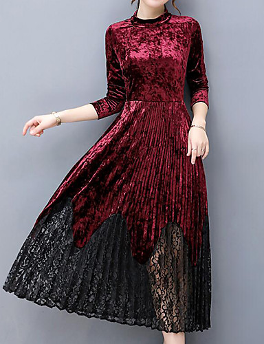Women's Plus Size Going out Velvet Sheath Dress - Solid Colored Vintage Style Maxi