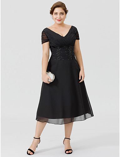 A-vonalú V-alakú Tea-hossz Sifon Örömanya ruha val vel Gyöngydíszítés Átkötős által LAN TING BRIDE®