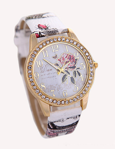 cheap Floral Watches-Women's Ladies Wrist Watch Diamond Watch Quartz Leather White / Red / Brown Hot Sale Analog Charm Fashion - Gray Brown Red