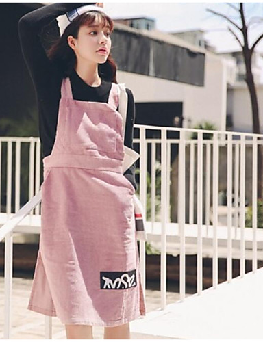 Women's Going out Street chic Cotton A Line Dress - Solid Colored Strap / Fall / Winter