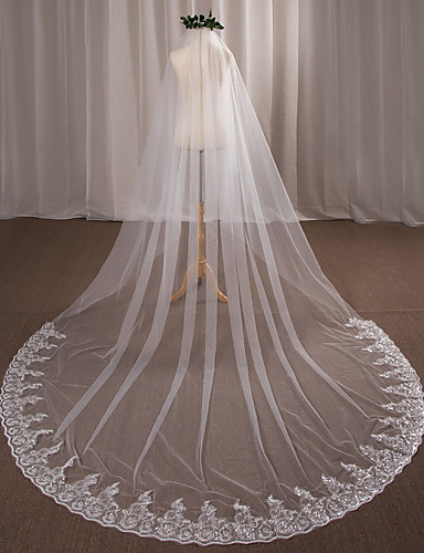 Egykapcsos Menyasszonyi fátyol Katedrális fátylak val vel Rátétek Csipke / Tüll / Angyal / Vízesés szabású
