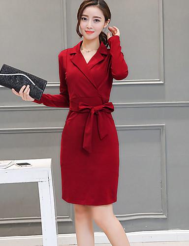 9e4f549b3ba Women s Plus Size Going out Street chic Sheath Dress - Solid Colored Shirt  Collar Fall Black Red Wine XL XXL XXXL   Slim