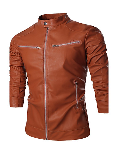 Men's Street chic / Punk & Gothic Leather Jacket - Solid Colored / Long Sleeve