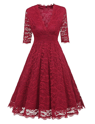 Women's Sheath / Swing Dress - Solid Colored Maxi V Neck