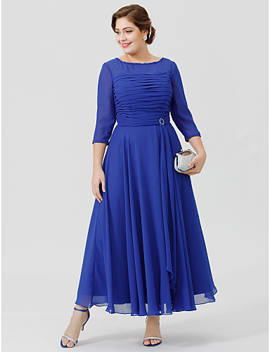 A-Line Bateau Neck Ankle Length Chiffon / Georgette Mother of the Bride Dress with Crystal Brooch / Ruched by LAN TING BRIDE® / See Through