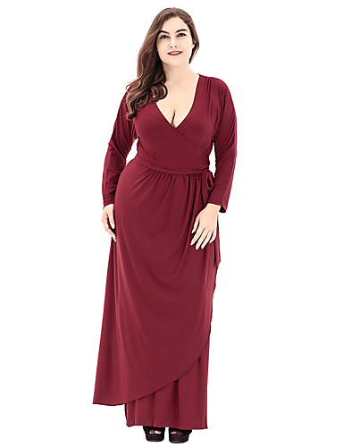 Women's Plus Size Basic Dress - Solid Colored Maxi Deep V