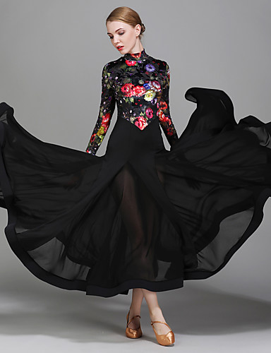 bf71d56b10 Ballroom Dance Dresses Women s Performance Chiffon Satin Velvet Ice Silk  Pattern   Print Long Sleeves Natural Dress