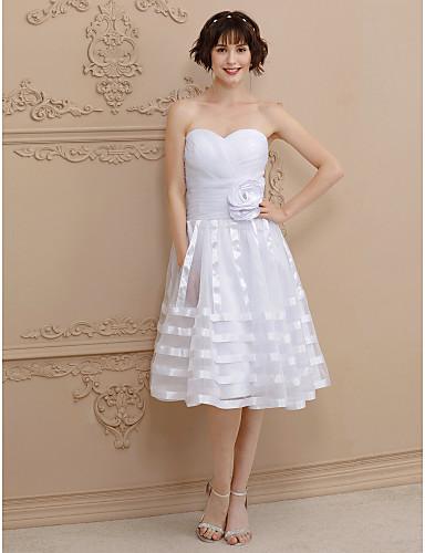 Hercegnő Szív-alakú Térdig érő Organza Made-to-measure esküvői ruhák val vel Cakkos / Virág által LAN TING BRIDE® / Kis fehér szoknyák / Open Back
