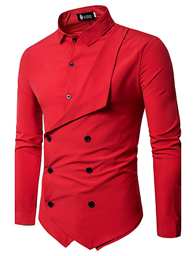 cheap Sale-Men's Chinoiserie Slim Shirt - Solid Colored Basic Classic Collar / Long Sleeve