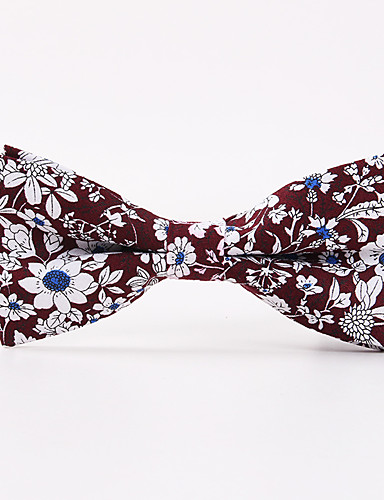 Men's Pattern Polyester Bow Tie - Floral Print
