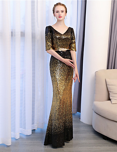 Mermaid / Trumpet V Neck Ankle Length Sequined Formal Evening Dress with Sequin by