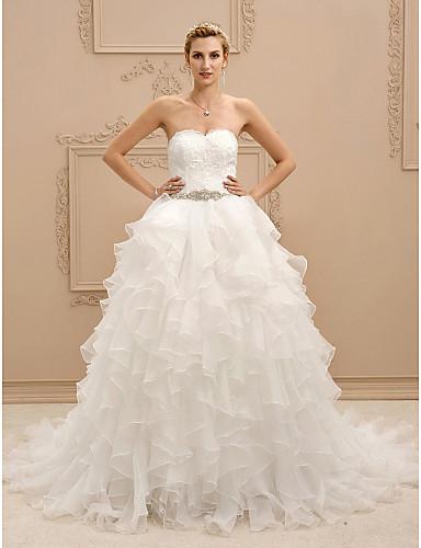 3e09f33c9 Salón Escote Corazón Corte Encaje   Organza Vestidos de novia hechos ...