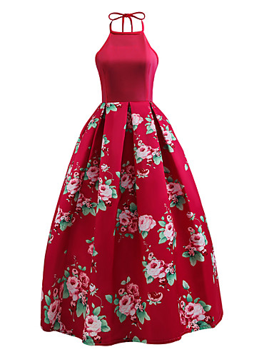 Women's Party / Going out Vintage / Street chic Swing Dress - Floral Red, Backless Crew Neck