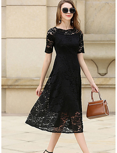 Women's Going out Street chic Sheath / Lace Dress - Solid Colored