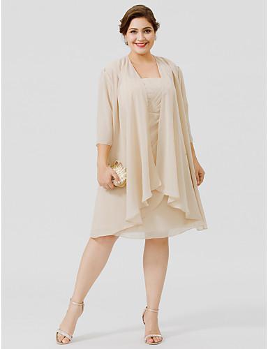 Szűk szabású Szíj Térdig érő Sifon Sima csipke Örömanya ruha val vel Cakkos által LAN TING BRIDE®
