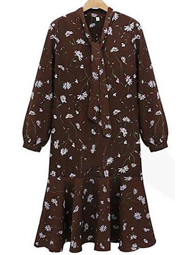 abordables Robes Femme-Femme Grandes Tailles Midi Ample Robe Fleur Col en V Automne Marron Noir XXXL XXXXL XXXXXL Manches Longues