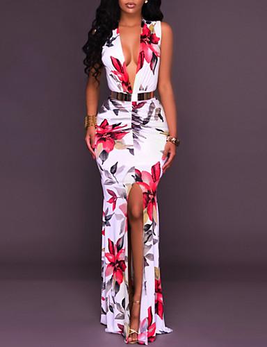 baratos Vestidos Longos-Mulheres Festa Tubinho Vestido - Fenda, Floral Decote em V Profundo Longo Branco